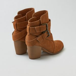 Buckle Heeled Boot Faux Suede Boot Silhouette