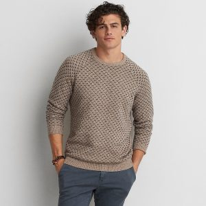 Birdseye Crew Sweater Ribbed Neckline, Cuffs And Hem